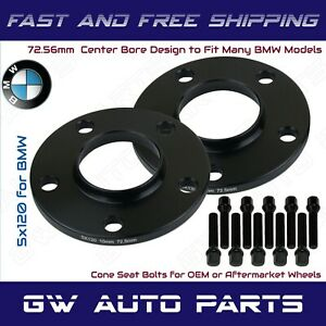 2Pc Black Anodized BMW 5x120 Wheel Spacers Kit 10mm Thick I.D 72.56mm With Bolts