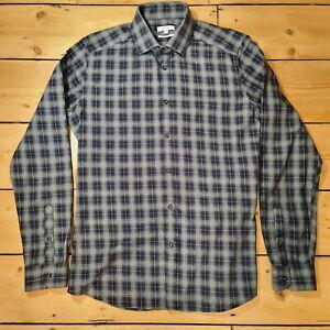 Reiss Mens Shirt Check Blue Grey Medium Collar 16 Chest 40