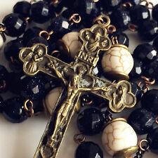 BLUE Sand Stone BEADS & White Turquoise ROSARY Necklace Catholic Vintage CROSS