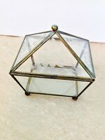 VTG Etched Lead Glass & Brass Trinket / Vanity Box