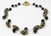 1950s black crystal gold metal bead multi bead cap chain double strand necklace
