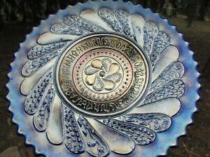 Dugan ROUND-UP ANTIQUE CARNIVAL ART GLASS PLATE~BLUE~TOUGH COLOR~A BEAUTY!