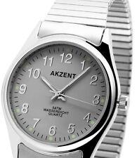 Herren Armbanduhr Grau/Silber mit Metall-Zugband Zugarmband von AKZENT
