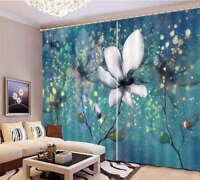Transparent Flowers 3D Curtain Blockout Photo Printing Curtains Drape Fabric