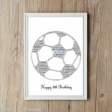 Football Ball Personalised A4 Word Art Print Great Birthday Gift Sports Gift