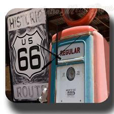 OLD HISTORIC ROUTE 66 GAS STATION  VINTAGE RETRO  METAL TIN SIGN WALL CLOCK