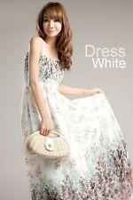 Chiffon Maxi vestido blanco bandeau Stretch verano vestido vestido largo S M L
