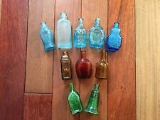 Lot of 10 Vintage Miniature Glass Bottles in various shapes, colors and sizes
