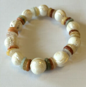 Genuine Jade and Agate with Shell Ball Stretch Bracelet to fit adult handmade