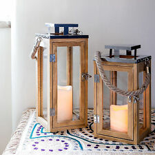 Vintage Wooden LED Candle Lantern With Rope Handle Rustic Home Decor Lovely Gift