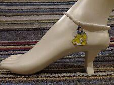 bracelet beads anklet stretchy handmade New listing Snow White enamel charm ankle