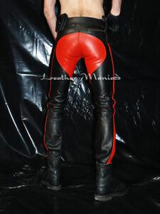 Zunfthose Leder-Hose Lederhose Lederjeans mit rotem Sattel und fettes Leder