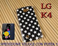 Cover custodia in gomma di silicone per Smartphone LG K4 fantasia STELLE BIANCHE
