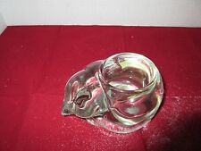 Indiana Glass Company Sleeping Cat Clear Glass Candleholder