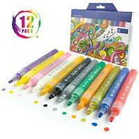 Acrylic Paint Pens Markers Set Permanent Art Rock Glass Metal Pebbles Waterproof
