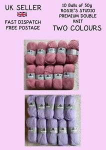 10x50g Rosies Family Knit DK Double Knit *NEW* 2 colours Pink Lilac FREE POSTAGE