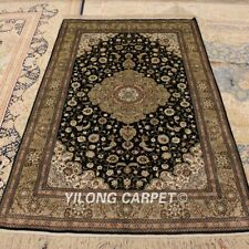 Yilong 4'x6' Green Medallion Handmade Carpet Top Hand Knotted Silk Area Rug 260A