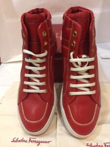 """Salvatore Ferragamo""""NICKY''Sneakers.Leather. Fashion. Red.Size-8.5"""