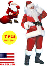 US!Mens Flannel Santa Claus Suit Christmas Xmas Fancy Dress Costume Cosplay Set