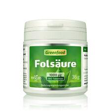 Greenfood Folsäure, 1000µg, hochdosiert, 180 Tabletten - für gesundes Wachstum