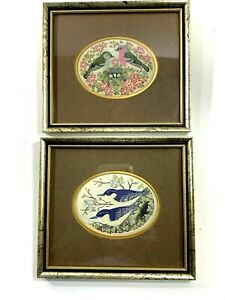 Pair Charles Berisford Small Framed Bird Pictures Jacquard Woven on Silk England