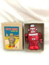 Vintage NOS Tin Litho Small JAPAN Y Space Robot in Box Wind Up #15 RED Sanko