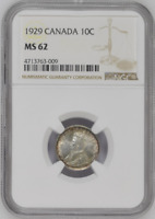 :1929 SILVER DIME GEORGE-V 10C CANADA KM# 23a LOW-POP NGC MS-62 HIGHEST-GRADES