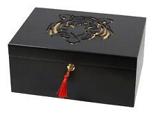 Humidor Tiger schwarz matt Polymerbefeuchter Zedernholztablett ca 75 Zigarren
