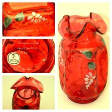 Fenton Country Cranberry Hand Painted by D. BARBOUR Leaf Ruffled Top Vase