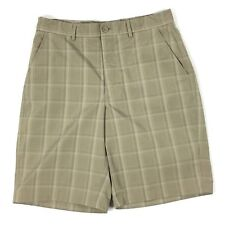 "Kirkland Men's Size 32 Beige Plaids & Checks Bard Shorts 10"" Inseam. OO"