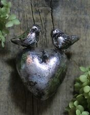 Sm Silver Metallic Heart & Birds Clay Handmade by Rafael Pineda Mexican Folk Art