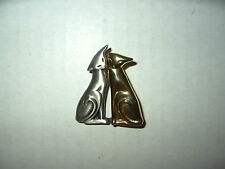 Vintage Goldtone & Pewter Signed B.B. CARON Modernist 2 Siamese Cats Brooch Pin