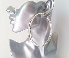 Gorgeous HUGE shiny plain SILVER tone wide hoop earrings, 9.5cm BIG hoops! *NEW