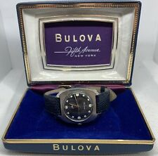 Vintage In Box Blue Dial Bulova Whale Watch Woth Cross Hair Dial Manual 17 Jewel