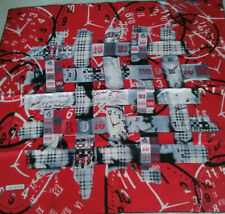 """Women's ARMINE 100% Silk Square Scarf, 33"""", New Without Tag, Red/white/black"""