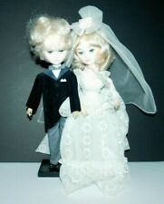 """Vtg Bride Groom Dolls Wedding 70's 12"""" on stand Blonde Couple Gown and Tux"""