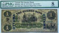 1863 Quebec Bank ,Canada $1.  Ch bank .# 620  PMG 8.  OTTAWA OVERPRINT RARE