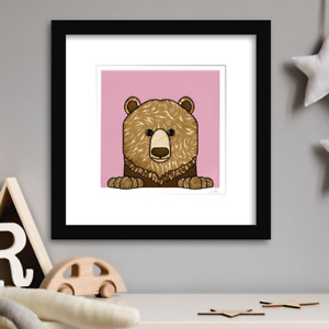 Wildlife Grizzly Bear - Background Colour Choice. Limited Edition Giclee Prints