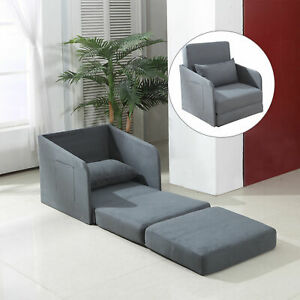Single Sofa Bed Convertible Chair Cushion Pillow Guest Bedroom Lightweight Grey