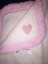 """Vtg Snuggle Away Baby Blanket 36"""" X 50"""" Pink White Girl Heart New"""