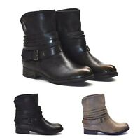NEW WOMENS LADIES ANKLE BOOTS BIKER BOOT AGED LOOK BLACK / BEIGE SIZE 3,4,5,6,7