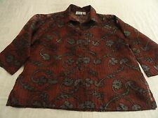 Chico's 3 Chicos Design Sheer Silk Blouse Misses XL Red Gray Special Occasion