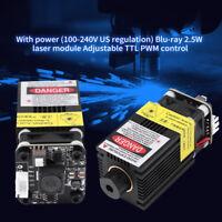 445nm 2500mW Blue Laser Module Adapter 12V CNC Engraving w/TTL/ PWM Control New