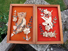 RARE PAIR OF VINTAGE RETRO FOLK ART SHELL ART PICTURES A BIRD AND AN OWL
