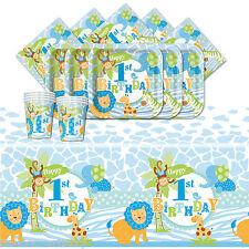 WILD Safari Blue Boy's 1st Compleanno completo di partito vasellame Pack Kit per 16