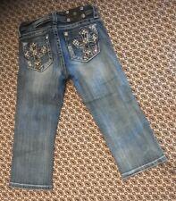 MISS ME GiIRLS Jeans Capris  Studded Cross Size 12