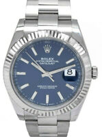 NEW Rolex Datejust 41 Steel & 18k White Gold Blue Dial Watch B/P '20 126334