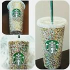 STARBUCKS Custom Reusable Cold Cup Tumbler 24oz | Bling Holographic Glitter Cup