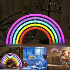 LED Rainbow Neon Night Light Colorful Sign Wall Lamp For Kids Room W/ Battery-#