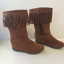 SKCH+ 3 by Sketchers Fringed Wedge Heel  BOOT Leather Rust Suede Side ZIpper 11